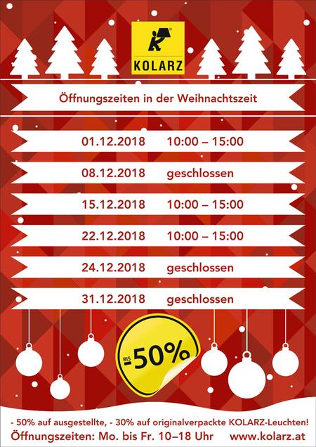 Öffnungszeiten in der Weihnachtszeit