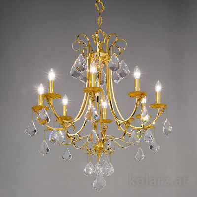 0057.88.3.KpT 24 Carat Gold, Ø80cm, Height 84cm, Min. height 108cm, Max. height 153cm, 8 lights, E14
