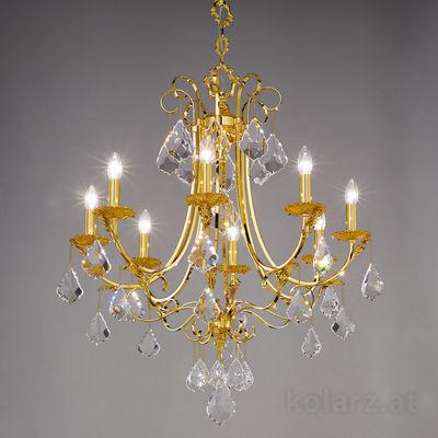 0057.88.3.KpT 24 Karat Gold, Ø80cm, Höhe 84cm, Min. Höhe 108cm, Max. Höhe 153cm, 8-flammig, E14