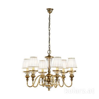 0146.86 Antique Brass, Ø70cm, Height 45cm, Min. height 60cm, Max. height 200cm, 6 lights, E14