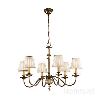 0195.86.4 Antique Brass, Ø78cm, Height 59cm, Min. height 80cm, Max. height 125cm, 6 lights, E14