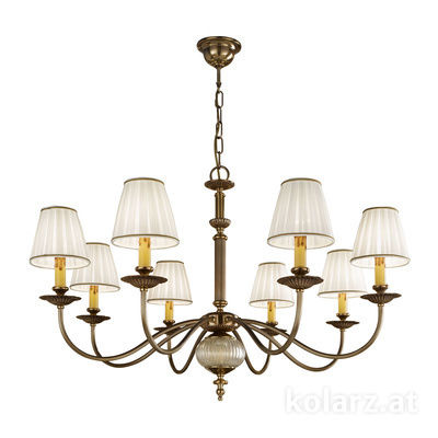 0195.88.4 Antique Brass, Ø95cm, Height 62cm, Min. height 83cm, Max. height 128cm, 8 lights, E14