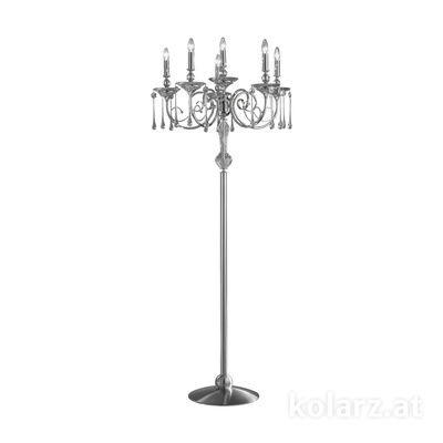 0224.46.6.T Nickel, Transparent, Ø52cm, Height 182cm, 6 lights, E14