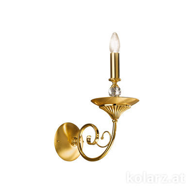 0224.60.3 24 Carat Gold, Transparent, Width 15cm, Max. height 33cm, 1 light, E14