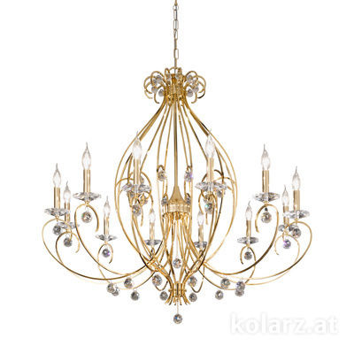 0232.812.3.KpT 24 Carat Gold, Ø110cm, Height 103cm, Min. height 123cm, Max. height 167cm, 12 lights, E14