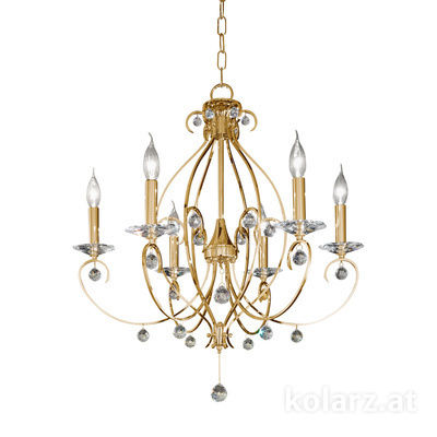 0232.86.3.KpT 24 Carat Gold, Ø66cm, Height 70cm, Min. height 90cm, Max. height 135cm, 6 lights, E14