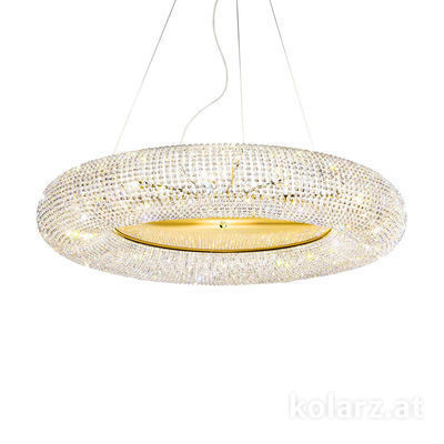 0256.315.3.KpT 24 Carat Gold, Ø110cm, Height 32cm, Min. height 50cm, Max. height 190cm, 15 lights, G9