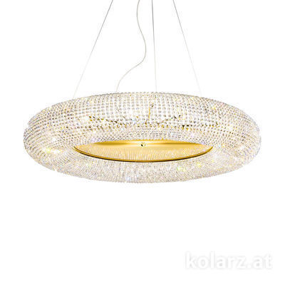 0256.315.3.SsT 24 Carat Gold, Ø110cm, Height 32cm, Min. height 50cm, Max. height 190cm, 15 lights, G9