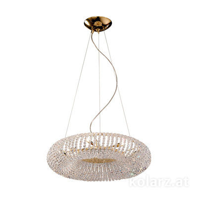 0256.35.3.KpT 24 Carat Gold, Ø55cm, Height 15cm, Min. height 30cm, Max. height 190cm, 5 lights, G9