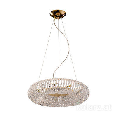 0256.35.3.SsT 24 Carat Gold, Ø55cm, Height 15cm, Min. height 30cm, Max. height 190cm, 5 lights, G9