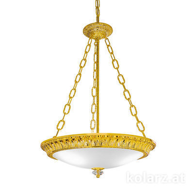 0298.33.3 24 Carat Gold, White, Ø50cm, Height 65cm, Min. height 85cm, Max. height 130cm, 3 lights, E27