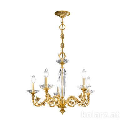 0299.85.3 24 Carat Gold, Ø65cm, Height 57cm, Min. height 80cm, Max. height 125cm, 5 lights, E14