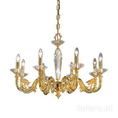0299.88.15 French Gold, Ø85cm, Height 58cm, Min. height 81cm, Max. height 126cm, 8 lights, E14