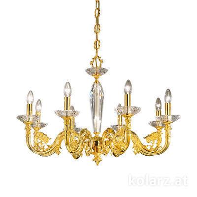 0299.88.3 24 Carat Gold, Ø85cm, Height 58cm, Min. height 81cm, Max. height 126cm, 8 lights, E14