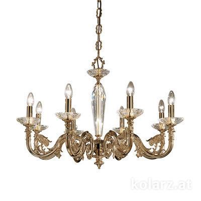 0299.88.4 Antique Brass, Ø85cm, Height 58cm, Min. height 81cm, Max. height 126cm, 8 lights, E14
