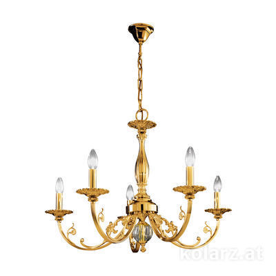 0301.85.15 French Gold, Ø83cm, Height 57cm, Min. height 83cm, Max. height 128cm, 5 lights, E14