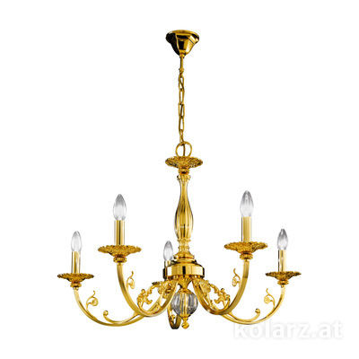 0301.85.3 24 Carat Gold, Ø83cm, Height 57cm, Min. height 83cm, Max. height 128cm, 5 lights, E14