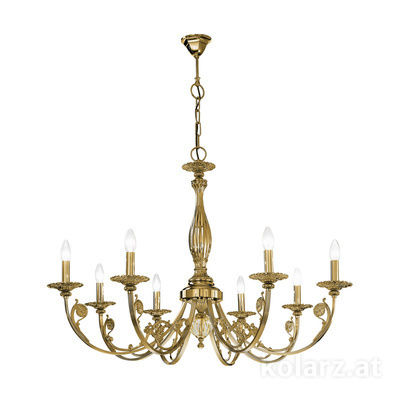 0301.88.4 Antique Brass, Ø101cm, Height 66cm, Min. height 93cm, Max. height 138cm, 8 lights, E14