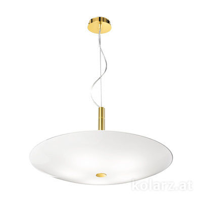 0314.35.3.W 24 Carat Gold, White, Ø62cm, Height 31cm, Min. height 37cm, Max. height 150cm, 5 lights, E14