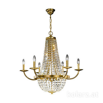 0316.86+3.8.KpT Engl. Brass, Ø81cm, Height 78cm, Min. height 99cm, Max. height 144cm, 6+3 lights, E14