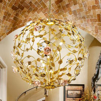 0325.36.3.R2R/KpT 24 Carat Gold, Ø64cm, Height 65cm, Min. height 85cm, Max. height 130cm, 6 lights, G9