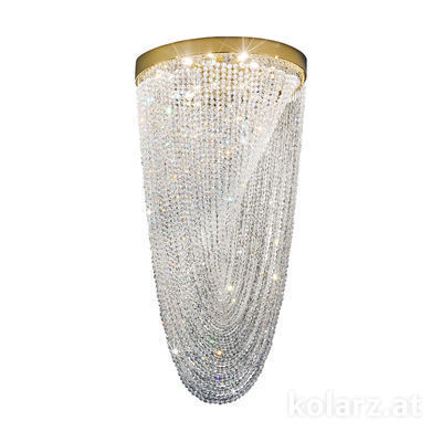 0328.16.3.KpT 24 Karat Gold, Ø44cm, Höhe 85cm, 6-flammig, G9