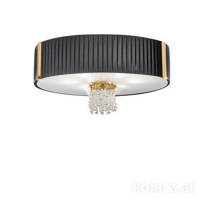 0345.16.3.Po.Bk.KpT 24 Carat Gold, Black, Ø60cm, Height 38cm, 6 lights, E27
