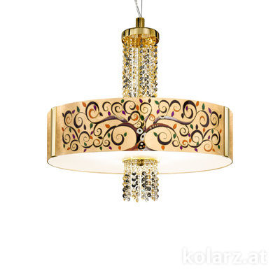 0345.36.3.Al.Mu.ETGn 24 Carat Gold, Ø60cm, Height 58cm, Min. height 60cm, Max. height 198cm, 6 lights, E27