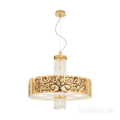 0345.36.3.Al.Mu.KpT 24 Carat Gold, Ø60cm, Height 58cm, Min. height 60cm, Max. height 198cm, 6 lights, E27