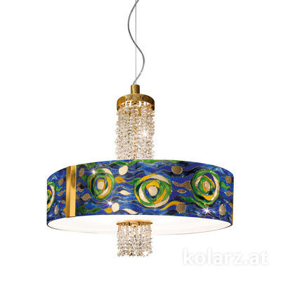 0345.36.3.Aq.BG.KpT 24 Carat Gold, Ø60cm, Height 58cm, Min. height 60cm, Max. height 198cm, 6 lights, E27