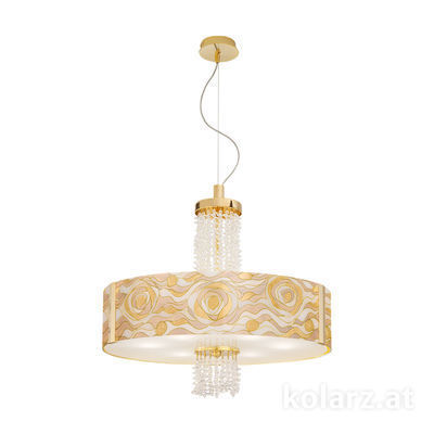 0345.36.3.Aq.CH.KpT 24 Carat Gold, Ø60cm, Height 58cm, Min. height 60cm, Max. height 198cm, 6 lights, E27