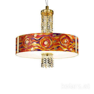 0345.36.3.Aq.RV.ETGn 24 Carat Gold, Ø60cm, Height 58cm, Min. height 60cm, Max. height 198cm, 6 lights, E27