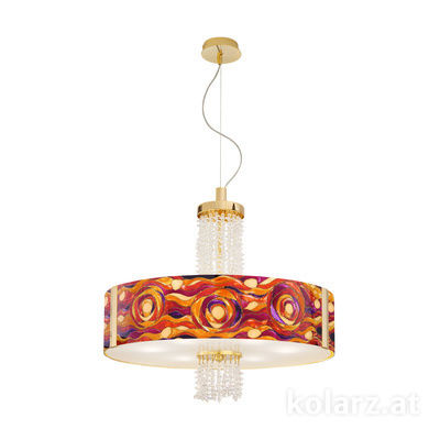 0345.36.3.Aq.RV.KpT 24 Carat Gold, Ø60cm, Height 58cm, Min. height 60cm, Max. height 198cm, 6 lights, E27