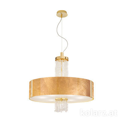 0345.36.3.Au.KpT 24 Carat Gold, Gold, Ø60cm, Height 58cm, Min. height 60cm, Max. height 198cm, 6 lights, E27