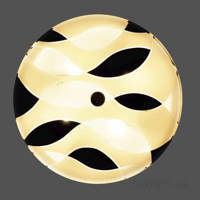 0347.U13.3.TWBk 24 Carat Gold, Black/White, Ø42cm, Max. height 7cm, 3 lights, E27