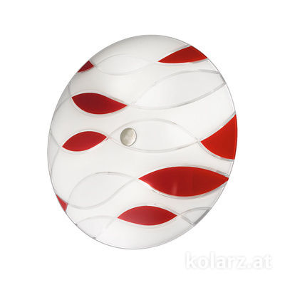 0347.U14.6.TWR Nickel, White/Red, Ø54cm, Max. height 8cm, 4 lights, E27