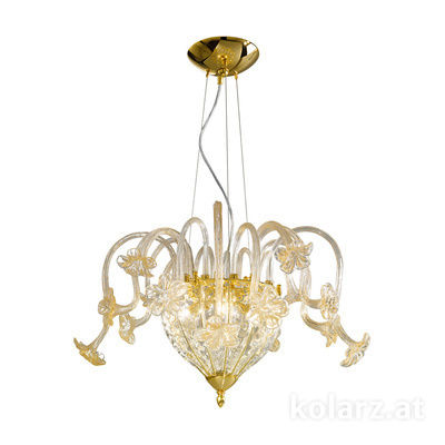 0378.84.3.Au 24 Carat Gold, Gold, Ø60cm, Height 40cm, Min. height 50cm, Max. height 230cm, 4 lights, G9
