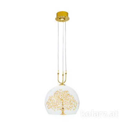 0392.31+1L.3.Al.Go 24 Carat Gold, Ø40cm, Height 200cm, Min. height 60cm, 1+1 lights, E27+GU10