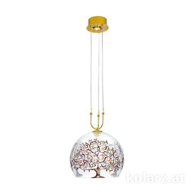0392.31+1L.3.Al.Mt 24 Carat Gold, Ø40cm, Height 200cm, Min. height 60cm, 1+1 lights, E27+GU10