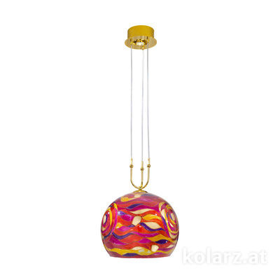 0392.31+1L.3.Aq.RV 24 Carat Gold, Ø40cm, Height 200cm, Min. height 60cm, 1+1 lights, E27+GU10