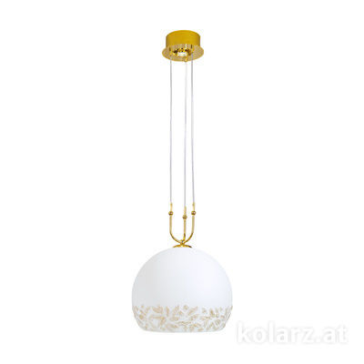 0392.31+1L.3.Li.WA 24 Carat Gold, Ø40cm, Height 200cm, Min. height 60cm, 1+1 lights, E27+GU10