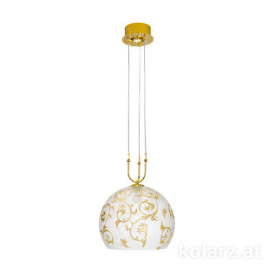 0392.31+1L.3.Tc.Au 24 Carat Gold, Ø40cm, Height 200cm, Min. height 60cm, 1+1 lights, E27+GU10