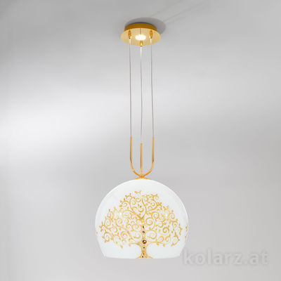 0392.31+1M.3.Al.Go 24 Carat Gold, Ø30cm, Height 200cm, Min. height 60cm, 1+1 lights, E27+GU10