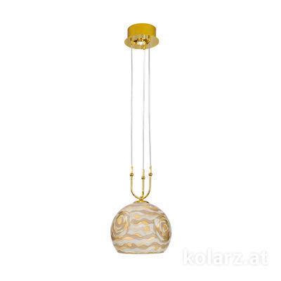 0392.31+1M.3.Aq.Ch 24 Carat Gold, Ø30cm, Height 200cm, Min. height 60cm, 1+1 lights, E27+GU10