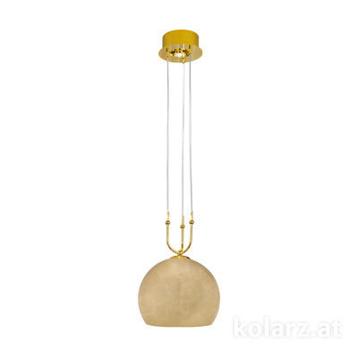 0392.31+1M.3.Au 24 Carat Gold, Ø30cm, Height 200cm, Min. height 60cm, 1+1 lights, E27+GU10