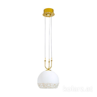 0392.31+1M.3.Li.WA 24 Carat Gold, Ø30cm, Height 200cm, Min. height 60cm, 1+1 lights, E27+GU10
