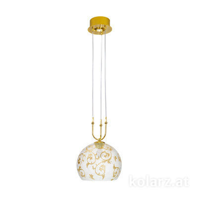 0392.31+1M.3.Tc.Au 24 Carat Gold, Ø30cm, Height 200cm, Min. height 60cm, 1+1 lights, E27+GU10