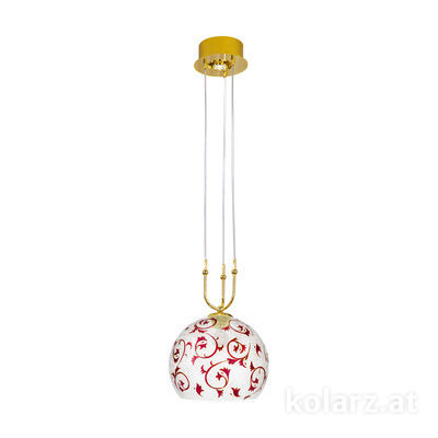 0392.31+1M.3.Tc.R 24 Carat Gold, Ø30cm, Height 200cm, Min. height 60cm, 1+1 lights, E27+GU10