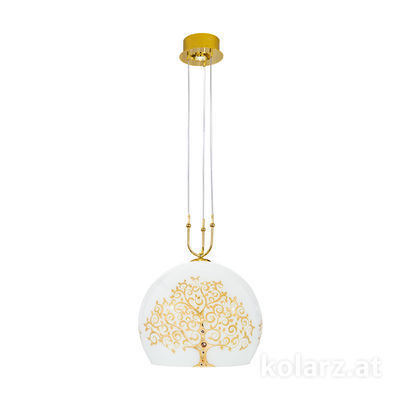 0392.31+1XL.3.Al.Go 24 Carat Gold, Ø50cm, Height 200cm, Min. height 60cm, 1+1 lights, E27+GU10