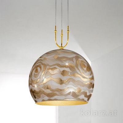 0392.31+1XL.3.Aq.Ch 24 Carat Gold, Ø50cm, Height 200cm, Min. height 60cm, 1+1 lights, E27+GU10